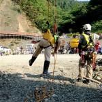 安全帯で墜落が止まった状態:特別教育実技訓練
